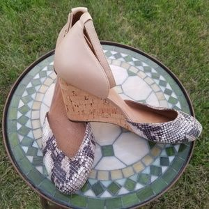 Clarks Purity Hyline snakeskin leather wedge nude